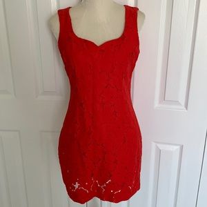 Karl Lagerfeld Red Lace Dress